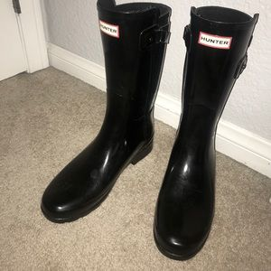 Original refined black gloss Hunter rain boots